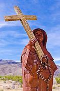 Metal sculpture of Father Francisco Garces by Ricardo Breceda at Galleta Meadows Estate, Borrego Springs, California USA