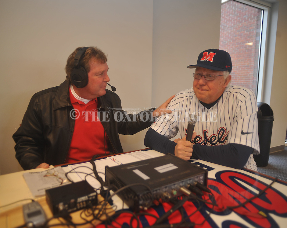 Jeff Roberson (left) and Stan Sandroni (center) interview Don Kessinger at the Ole Miss baseball alumni game at Oxford-University Stadium in Oxford, Miss. on Saturday, February 5, 2011.