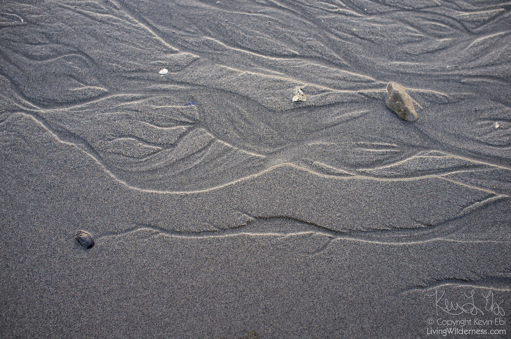 The receding tide results in drainage patterns on the beach at Brackett's Landing in Edmonds, Washington.