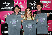 Echosmith poses with signed PINKTOBER merchandise at the launch of Hard Rock International's 16th annual breast cancer awareness campaign benefitting The Breast Cancer Research Foundation on Monday, Sept. 14, 2015 at Hard Rock Cafe New York. (Photo by Diane Bondareff/Invision for Hard Rock International)
