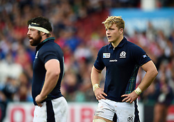 David Denton of Scotland looks on - Mandatory byline: Patrick Khachfe/JMP - 07966 386802 - 23/09/2015 - RUGBY UNION - Kingsholm Stadium - Gloucester, England - Scotland v Japan - Rugby World Cup 2015 Pool B.