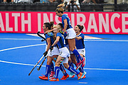 Chiara Tiddi captain of Italy (17) scores a goal (2-1) and celebrates with team mates  during the Vitality Hockey Women's World Cup 2018 Pool A match between the Netherlands and Italy at the Lee Valley Hockey and Tennis Centre, QE Olympic Park, United Kingdom on 29 July 2018. Picture by Martin Cole.