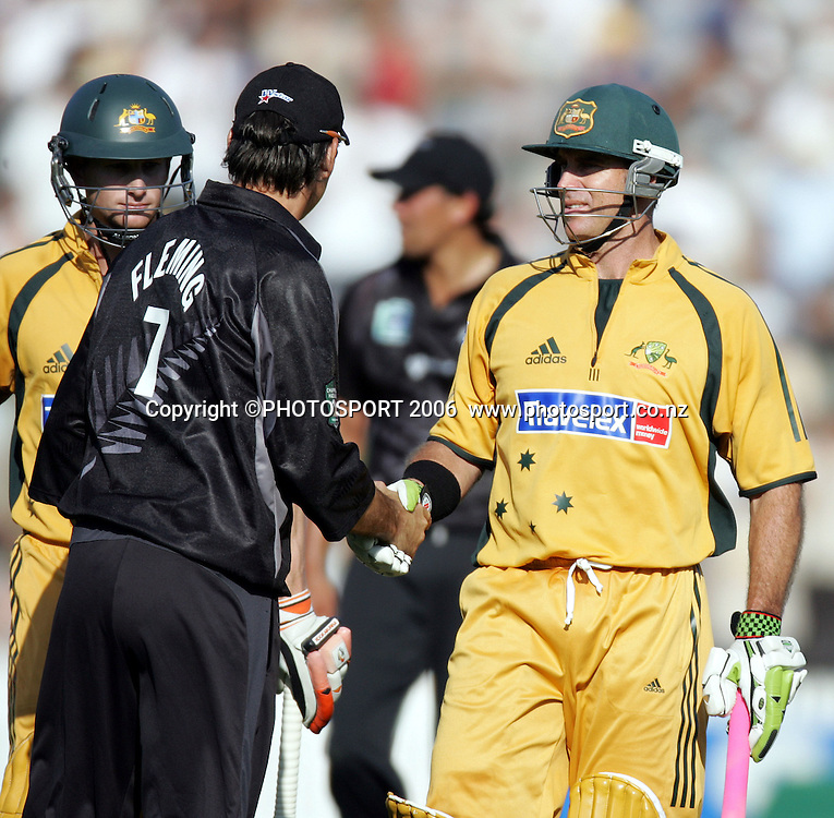 Australian batsman Matthew Hayden is congratulated by New Zealand captain Stephen Fleming after his record innings of 181 not out during the 3rd Chappell Hadlee one day match at Seddon Park, Hamilton, New Zealand on Tuesday 20 February 2007. Photo: Andrew Cornaga/PHOTOSPORT<br />