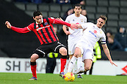 Milton Keynes Dons Dons midfielder Darren Potter (8) battles for possession with Shrewsbury Town midfielder Louis Dodds (10)  during the EFL Sky Bet League 1 match between Milton Keynes Dons and Shrewsbury Town at stadium:mk, Milton Keynes, England on 25 February 2017. Photo by Dennis Goodwin.