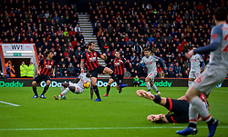 BOURNEMOUTH, ENGLAND - Saturday, December 8, 2018: AFC Bournemouth's Steve Cook scores an own-goal during the FA Premier League match between AFC Bournemouth and Liverpool FC at the Vitality Stadium. (Pic by David Rawcliffe/Propaganda)