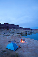 Camping in Glen Canyon National Recreation Area, UT.