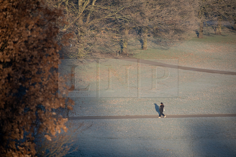 © Licensed to London News Pictures. 31/01/2019. London, UK. A walker in Greenwich Park in south east London on a frosty, clear morning. Temperatures in London reach minus three degrees Celsius last night. Photo credit : Tom Nicholson/LNP