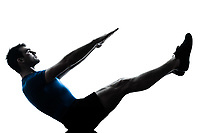 one caucasian man exercising workout fitness boat position yoga in silhouette studio  isolated on white background