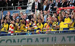 Arsenal lift the FA Cup  - Photo mandatory by-line: Joe Meredith/JMP - Mobile: 07966 386802 - 30/05/2015 - SPORT - Football - London - Wembley Stadium - Arsenal v Aston Villa - FA Cup Final