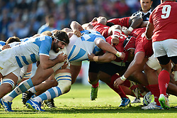 The Argentina and Tonga packs engage at a scrum - Mandatory byline: Patrick Khachfe/JMP - 07966 386802 - 04/10/2015 - RUGBY UNION - Leicester City Stadium - Leicester, England - Argentina v Tonga - Rugby World Cup 2015 Pool C.