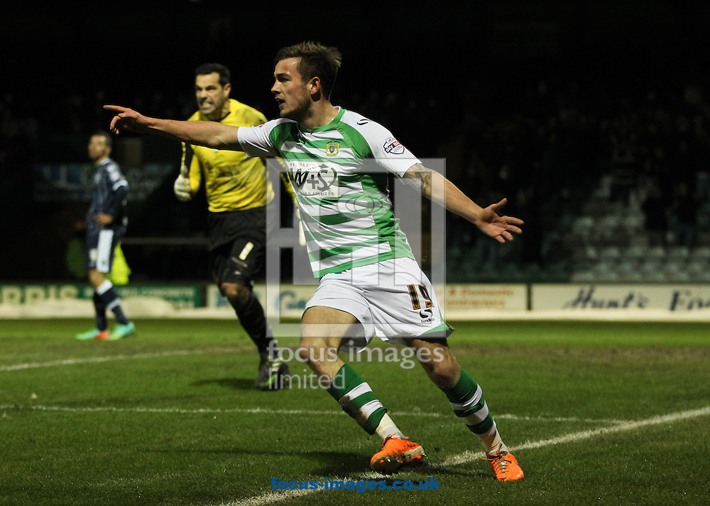 Joe Ralls (centre) of Yeovil Town celebrates scoring his sides first goal during the Sky Bet Championship match at Huish Park, Yeovil<br /> Picture by Tom Smith/Focus Images Ltd 07545141164<br /> 11/02/2014