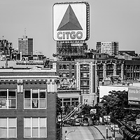 Boston Citgo sign black and white photo and Kenmore Square from above. Boston, Massachusetts is a major city in the Eastern United States of America.