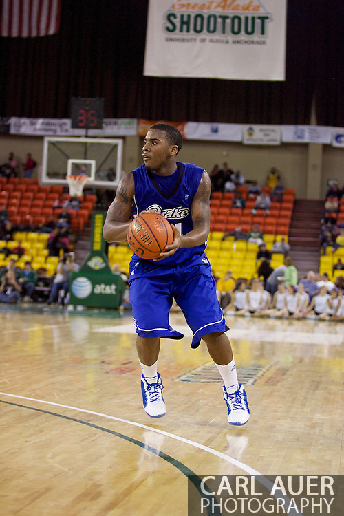 November 27th, 2010:  Anchorage, Alaska - Drake Bulldog Rayvonte Rice (24) sets up for a three point shot in the Bulldog 81-82 loss to Weber State in the third place game of the Great Alaska Shootout.