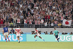 September 20, 2019, Tokyo, Japan: Japan's Kotaro Matsushima (C) scores a try during the Rugby World Cup 2019 Pool A match between Japan and Russia at Tokyo Stadium. Japan defeats Russia 30-10. (Credit Image: © Rodrigo Reyes Marin/ZUMA Wire)