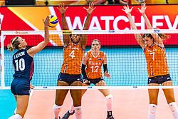 15-10-2018 JPN: World Championship Volleyball Women day 16, Nagoya<br /> Netherlands - USA 3-2 / Jordan Larson #10 of USA, Celeste Plak #4 of Netherlands, Juliet Lohuis #7 of Netherlands