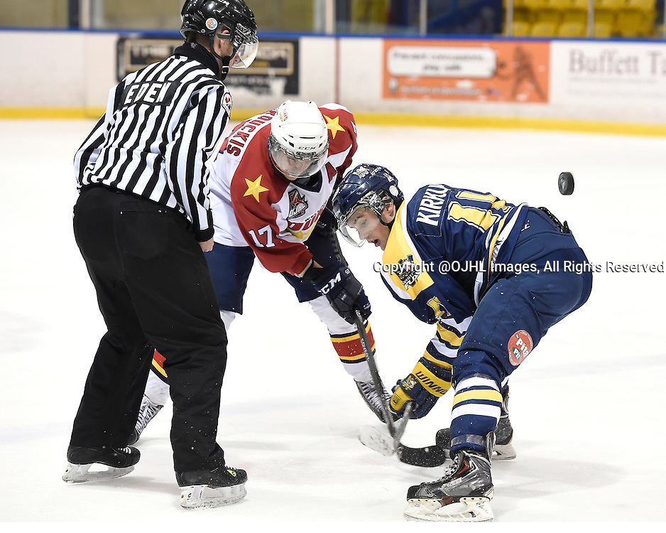 WHITBY, ON - Nov 11, 2014 : Ontario Junior Hockey League game action between Wellington and Whitby, Abbott Girduckis #17 of the Wellington Dukes takes the face-off against Ryan Kirkup #11 of the Whitby Fury during the third period.<br /> (Photo by Andy Corneau / OJHL Images)