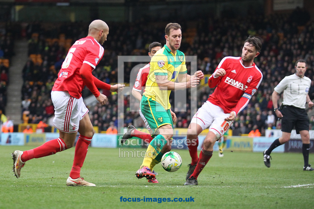 Steven Whittaker of Norwich takes on the Forest defence during the Sky Bet Championship match at Carrow Road, Norwich<br /> Picture by Paul Chesterton/Focus Images Ltd +44 7904 640267<br /> 21/03/2015