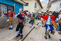 Pisac, Peru - July 16, 2013: dancer at Virgen del Carmen parade in the peruvian Andes at Pisac Peru on july 16th, 2013