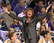 Kansas State head coach Deb Patterson reacts after a technical foul was called on the Wildcat bench, during the first half against Baylor at Bramlage Coliseum in Manhattan, Kansas, February 25, 2006. The 10 ranked Lady Bears defeated K-State 79-70.