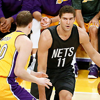 15 November 2016: Los Angeles Lakers center Timofey Mozgov (20) defends on Brooklyn Nets center Brook Lopez (11) during the LA Lakers 125-118 victory over the Brooklyn Nets, at the Staples Center, Los Angeles, California, USA.