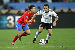 07.07.2010, Moses Mabhida Stadium, Durban, SOUTH AFRICA, Deutschland ( GER ) vs Spanien ( ESP ) im Bild Pedro of Spain and Piotr Trochowski of Germany .Foto ©  nph /  Kokenge / SPORTIDA PHOTO AGENCY