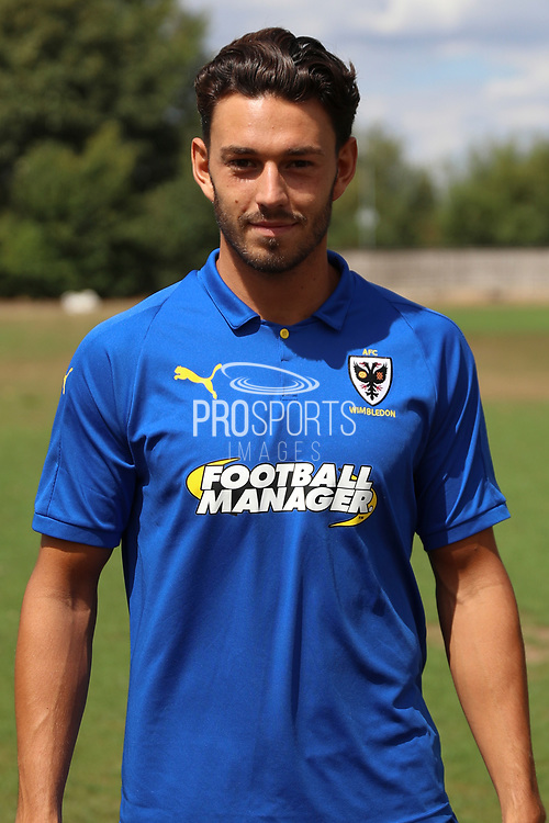 AFC Wimbledon defender Will Nightingale (5) during the AFC Wimbledon 2018/19 official photocall at the Kings Sports Ground, New Malden, United Kingdom on 31 July 2018. Picture by Matthew Redman.