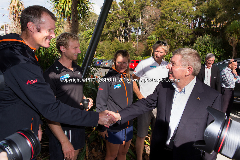 Mahe Drysdale, Hamish Bond, Rebecca Scown and Eric Murray with IOC president Thomas Bach, at the Rowing NZ Media Day, Lake Karapiro, Cambridge, New Zealand, Wednesday 6 May 2015. Photo: Stephen Barker/Photosport.co.nz