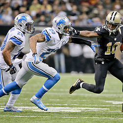 Dec 21, 2015; New Orleans, LA, USA; New Orleans Saints wide receiver Brandin Cooks (10) is pursued by Detroit Lions cornerback Darius Slay (23) and cornerback Quandre Diggs (28) during the second half of a game at the Mercedes-Benz Superdome. The Lions defeated the Saints 35-27. Mandatory Credit: Derick E. Hingle-USA TODAY Sports