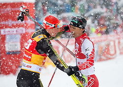 31.01.2016, Casino Arena, Seefeld, AUT, FIS Weltcup Nordische Kombination, Seefeld Triple, Langlauf, im Bild vl.: Eric Frenzel (GER, 1.Platz), Eric Frenzel (GER, 1.Platz) // f.l.: 1st placed Eric Frenzel of Germany and 2nd placed Akito Watabe of Japan react after 15km Cross Country Gundersen Race of the FIS Nordic Combined World Cup Seefeld Triple at the Casino Arena in Seefeld, Austria on 2016/01/31. EXPA Pictures © 2016, PhotoCredit: EXPA/ Jakob Gruber
