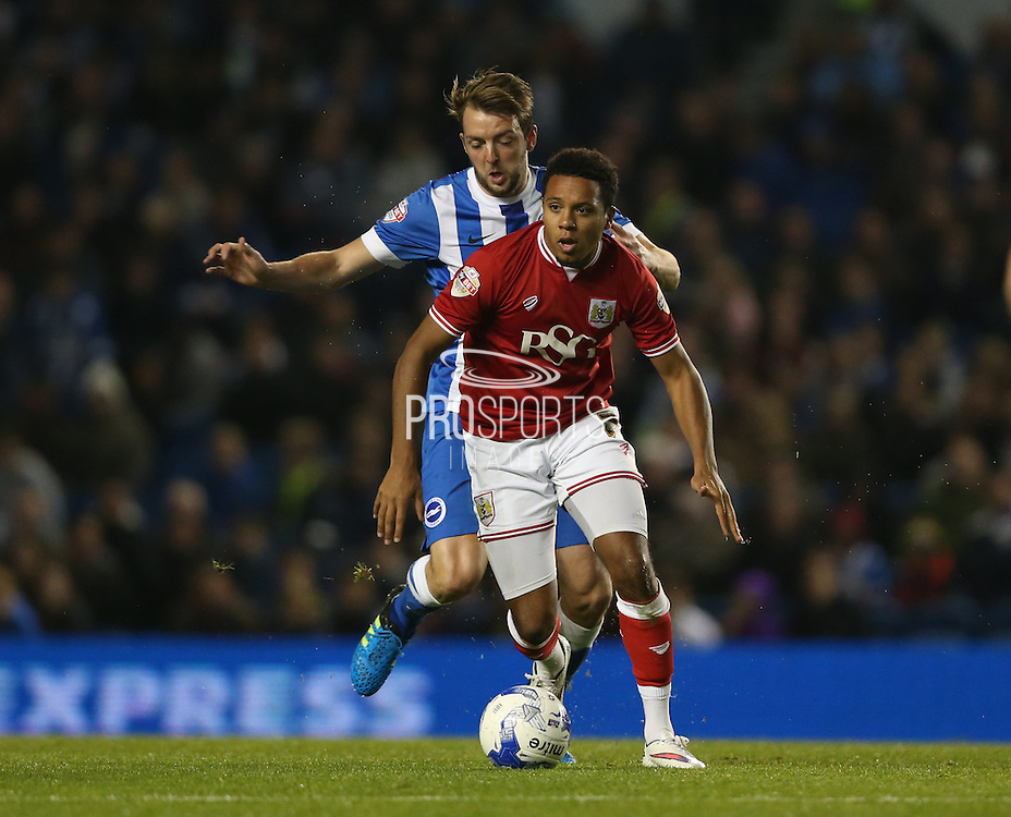 Bristol City midfielder Korey Smith (7) breaks forward during the Sky Bet Championship match between Brighton and Hove Albion and Bristol City at the American Express Community Stadium, Brighton and Hove, England on 20 October 2015.