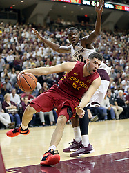 Iowa State's Georges Niang (31) drives the baseline against Texas A&M's Jalen Jones (12) during the second half of an NCAA college basketball game, Saturday, Jan. 30, 2016, in College Station, Texas. Texas A&M won 72-62. (AP Photo/Sam Craft)