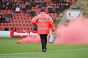 Flares thrown by Crewe fans causing delays in the match during the EFL Sky Bet League 2 match between Crewe Alexandra and Plymouth Argyle at Alexandra Stadium, Crewe, England on 12 November 2016. Photo by Richard Holmes.