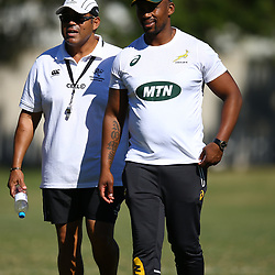 Eltienne Fynn (Managing Director Sharks Academy) with Mzwandile Stick (Backline Coach) of South Africa during the cell c sharks training session at Jonsson Kings Park Stadium,Durban.South Africa. 08,05,2018 Photo by Steve Haag)