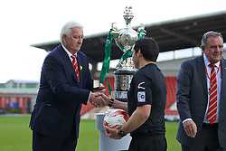 WREXHAM, WALES - Monday, May 2, 2016: FAW life vice president Phil Pritchard and referee Bryn Markham Jones during the 129th Welsh Cup Final at the Racecourse Ground. (Pic by David Rawcliffe/Propaganda)
