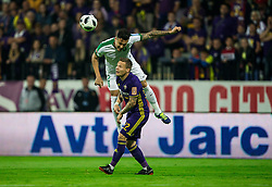 Jason Alan Davidson of NK Olimpija vs Martin Milec of Maribor during football match between NK Maribor and NK Olimpija Ljubljana in 34th Round of Prva liga Telekom Slovenije 2017/18, on May 19, 2018, in Stadion Ljudski vrt, Maribor, Slovenia. Photo by Vid Ponikvar / Sportida