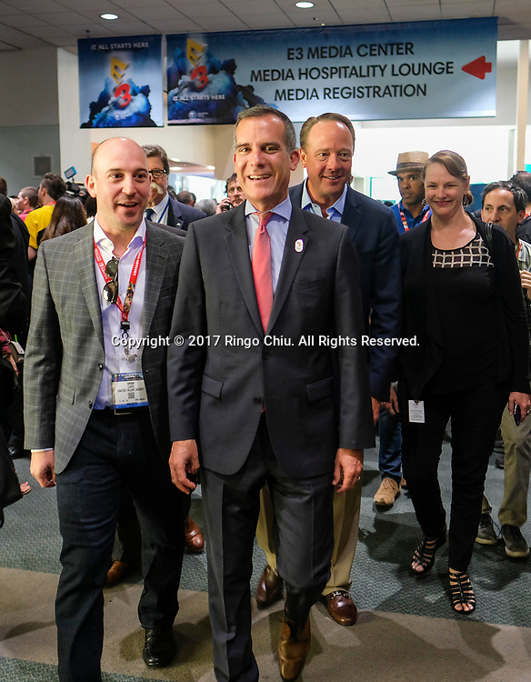 Los Angeles City Mayor Eric Garretti attends 2017 Electronic Entertainment Expo (E3) at the Los Angeles Convention Center on June 13, 2017.(Photo by Ringo Chiu)<br /> <br /> Usage Notes: This content is intended for editorial use only. For other uses, additional clearances may be required.