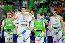 Players of Slovenia after basketball match between National teams of Slovenia and France in Quarterfinal Match of U20 Men European Championship Slovenia 2012, on July 20, 2012 in SRC Stozice, Ljubljana, Slovenia. (Photo by Matic Klansek Velej / Sportida.com)