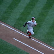 Bryce Harper, Washington Nationals, batting, runs hard to first base during the New York Mets Vs Washington Nationals MLB regular season baseball game at Citi Field, Queens, New York. USA. 4th October 2015. Photo Tim Clayton