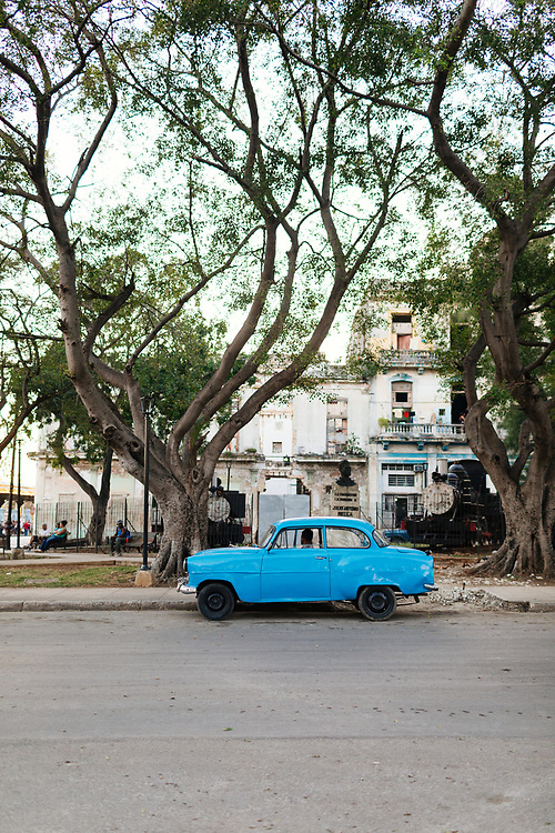 Blue classic car parked in Old Havana, Havana Cuba