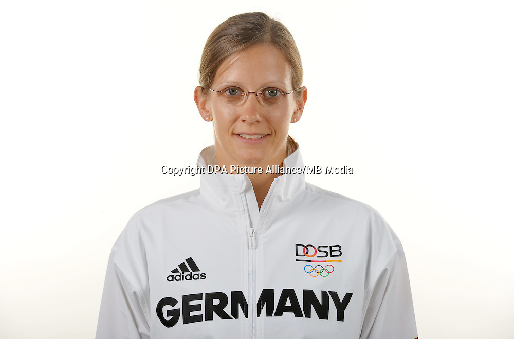 Juliane Volke poses at a photocall during the preparations for the Olympic Games in Rio at the Emmich Cambrai Barracks in Hanover, Germany. July 04, 2016. Photo credit: Frank May/ picture alliance. | usage worldwide