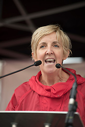 © Licensed to London News Pictures. 01/10/2017. Manchester, UK.  Julie Hesmondhalgh speaking at the People's Assembly Rally at Castlefield Arena. The rally challenged the ideas of austerity as part of the Take Back Manchester festival to protest the Conservative Party conference taking part in the city.  Photo credit: Steven Speed/LNP