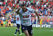 Stephen Dobbie celebrates his equalizer for bolton during the Sky Bet Championship match between Bolton Wanderers and Nottingham Forest at the Macron Stadium, Bolton, England on 22 August 2015. Photo by Mark Pollitt.