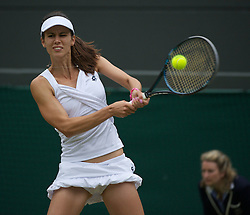 28.06.2011, Wimbledon, London, GBR, WTA Tour, Wimbledon Tennis Championships, im Bild Tsvetana Pironkova (BUL) in action during the Ladies' Singles Quarter-Final match on day eight of the Wimbledon Lawn Tennis Championships at the All England Lawn Tennis and Croquet Club. EXPA Pictures © 2011, PhotoCredit: EXPA/ Propaganda/ David Rawcliffe +++++ ATTENTION - OUT OF ENGLAND/UK +++++ // SPORTIDA PHOTO AGENCY