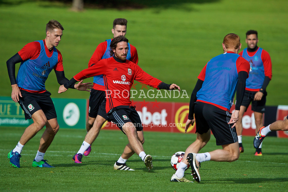 CARDIFF, WALES - Wednesday, October 5, 2016: Wales' Joe Allen during a training session at the Vale Resort ahead of the 2018 FIFA World Cup Qualifying Group D match against Austria. (Pic by David Rawcliffe/Propaganda)