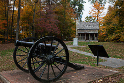 Cannon and log cabin, Battle of Corydon Park, Corydon, Indiana, United States of America