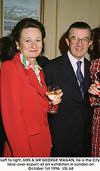 Left to right, MRS & MR GEORGE MAGAN, he is the City take-over expert, at an exhibition in London on October 1st 1996. LSL 64