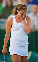 LONDON, ENGLAND - Wednesday, June 24, 2009: Michelle Larcher De Brito (POR) looks dejected as she loses a second set tie-break during her Ladies' Singles 2nd Round defeat on day three of the Wimbledon Lawn Tennis Championships at the All England Lawn Tennis and Croquet Club. (Pic by David Rawcliffe/Propaganda)
