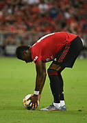 Manchester United's Marcus Rachford lines up the ball for a free kick during an International Champions Cup game won by Manchester United 1-0, Saturday, July 20, 2019, in Singapore. (Kim Teo/Image of Sport)