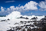Rocky shoreline and powerful surf at Laupahoehoe Point Park, Laupahoehoe, The Big Island, Hawaii USA