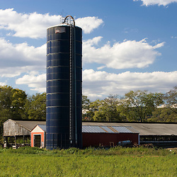 A silo at Boggy Meadow Farm in Walpole, New Hampshire.